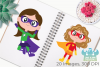 Superhero Girls 2 Clipart, Instant Download Vector Art example image 3