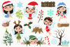 Christmas Fairies 3 Clipart, Instant Download Vector Art example image 2
