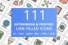 111 Networking & Printers Filled Line Icons example image 1