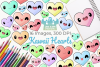 Kawaii Hearts Clipart, Instant Download Vector Art example image 1