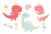 Girl Dinos, digital clipart and paper set example image 2