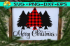 Merry Christmas - Buffalo Plaid - Trees - SVG PNG EPS DXF example image 1