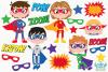 Superhero Boys 2 Clipart, Instant Download Vector Art example image 2