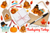 Thanksgiving Turkeys Watercolor Clipart, Instant Download example image 4