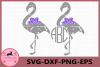 Flamingo Monogram Svg, Flamingo Grunge SVG, Flamingo clipart example image 1
