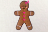 Gingerbread Girl Applique Embroidery Design example image 1