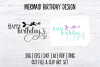 Mermaid Happy Birthday SVG Cut File and PNG Clip Art Set example image 2
