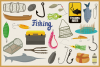 Fishing Time Vector Clipart and Seamless Pattern example image 3