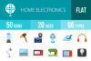 50 Home Electronics Flat Multicolor Icons example image 1