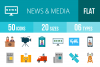 50 News & Media Flat Multicolor Icons example image 1