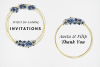 Navy Blue Watercolor Flowers Frames, Geometric Gold Frames, example image 8