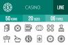 50 Casino Line Icons example image 1