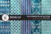 Patterned Blue Glitter Digital Paper example image 1