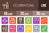 50 Celebrations Line Multicolor B/G Icons example image 1