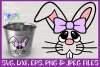Girl Bunny Face SVG - Easter Basket Design example image 1