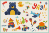 Kid's Toys Vector Cliparts & Seamless Patterns example image 4