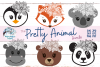 Pretty Animal SVG Bundle | Floral Animal Faces SVG Cut Files example image 1