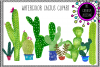 Hand Painted Watercolor Cactus Clipart example image 1