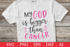 SALE! My God is bigger than cancer svg, breast cancer svg example image 1