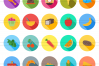 50 Food & Drinks Flat Long Shadow Icons example image 2