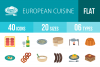 40 European Cuisine Flat Multicolor Icons example image 1