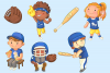 Kids Playing Baseball Clip Art Collection example image 3