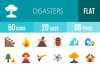 50 Disasters Flat Multicolor Icons example image 1