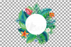 Watercolor tropical navy blue and green exotic floral frames example image 23
