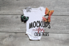 White one-piece baby outfit with butterflies MOCK-UP example image 1
