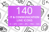 140 IT & Communication Line Icons example image 1