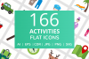 166 Activities Flat Icons example image 1