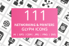 111 Networking & Printers Glyph Icons example image 1
