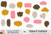 Speech Bubbles Clipart / Chat Bubbles / Hand drawn Text bubbles / Brown, Pink, Yellow - Vector example image 1