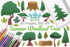 Summer Woodland Trees Clipart, Instant Download Vector Art example image 1