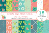 Coral and Mint Floral Digital Paper example image 1