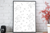 Fox and Flowers Doodle Pattern, A1, SVG example image 3