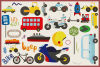 75 Transportation Vector Clipart & Seamless Patterns example image 3