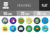 50 Housing Flat Long Shadow Icons example image 1