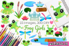 Frog Girls Watercolor Clipart, Instant Download Vector Art example image 1