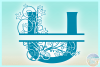 Plumeria Scrollwork Split Letter U SVG Dxf Eps Png PDF files example image 3