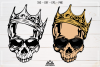 Hipster Skull with Crown Svg Design example image 1