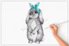 Grey Bunny Bandana No.2 - Sublimation PNG Clipart example image 1