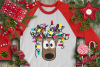 Christmas Lights Tangled Reindeer Watercolor example image 6