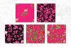 Black & Hot Pink Floral Tileable Digital Paper example image 3