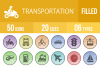 50 Transportation Filled Low Poly Icons example image 1