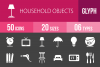 50 Household Objects Glyph Inverted Icons example image 1