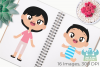 Happy Family 3 Clipart, Instant Download Vector Art example image 3