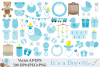 Baby Boy Clipart / Blue Baby Shower Clipart / Nursery Clip art / It`s a boy / Graphics / Illustration / Vector example image 1