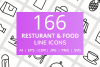 166 Restaurant & Food Line Icons example image 1