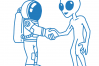 Astronaut handshake with an alien for peace - SVG/JPG/PNG Hand Drawing example image 2